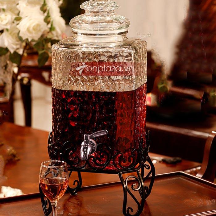 bình thủy tinh ngâm rượu có vòi